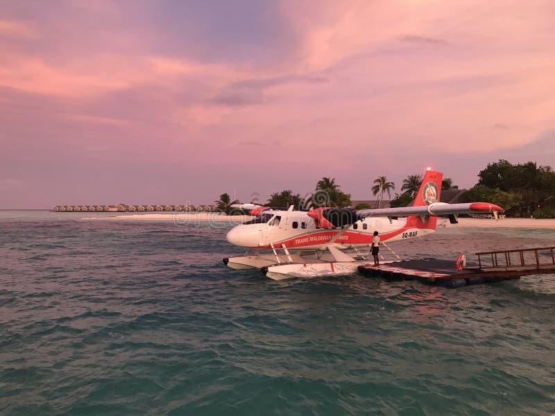 Twin Otto seaplane in the Maldives royalty free stock photo