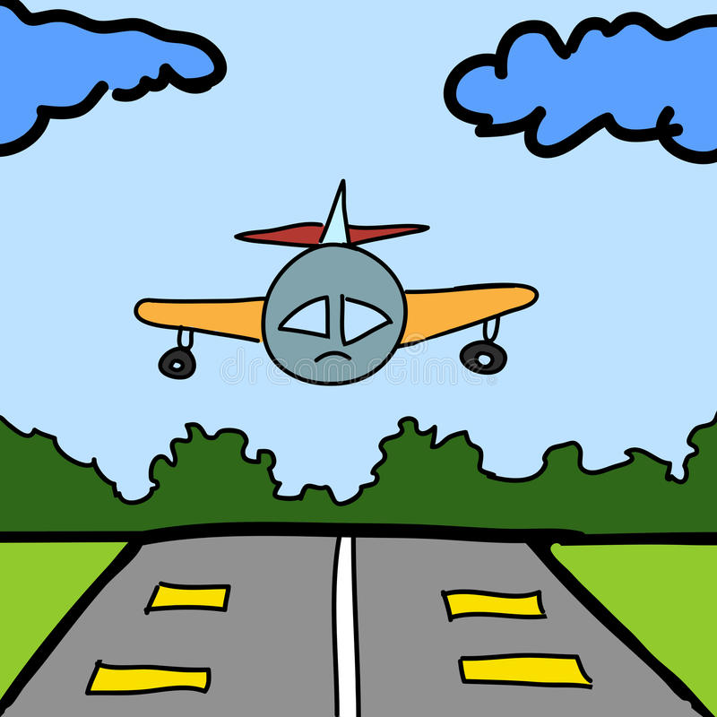 Plane and runway cartoon. Background vector illustration