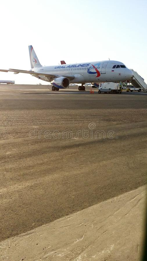 The plane on the runway. royalty free stock photography