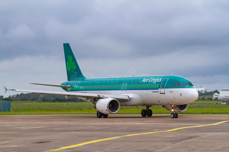 Plane on the runway of Shannon airport stock photography