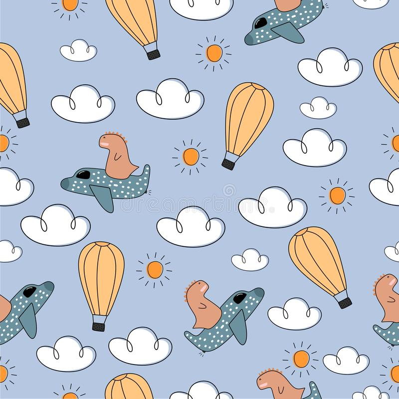 Plane seamless pattern for kids with cute drawing. Ideal for cards, invitations, baby shower, party, kindergarten, children. Nursery room decoration, background stock illustration