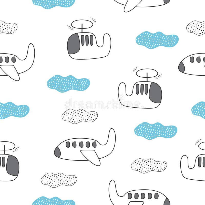 Plane seamless pattern for kids with cute drawing. Ideal for cards, invitations, baby shower, party, kindergarten, children. Nursery room decoration, background royalty free illustration