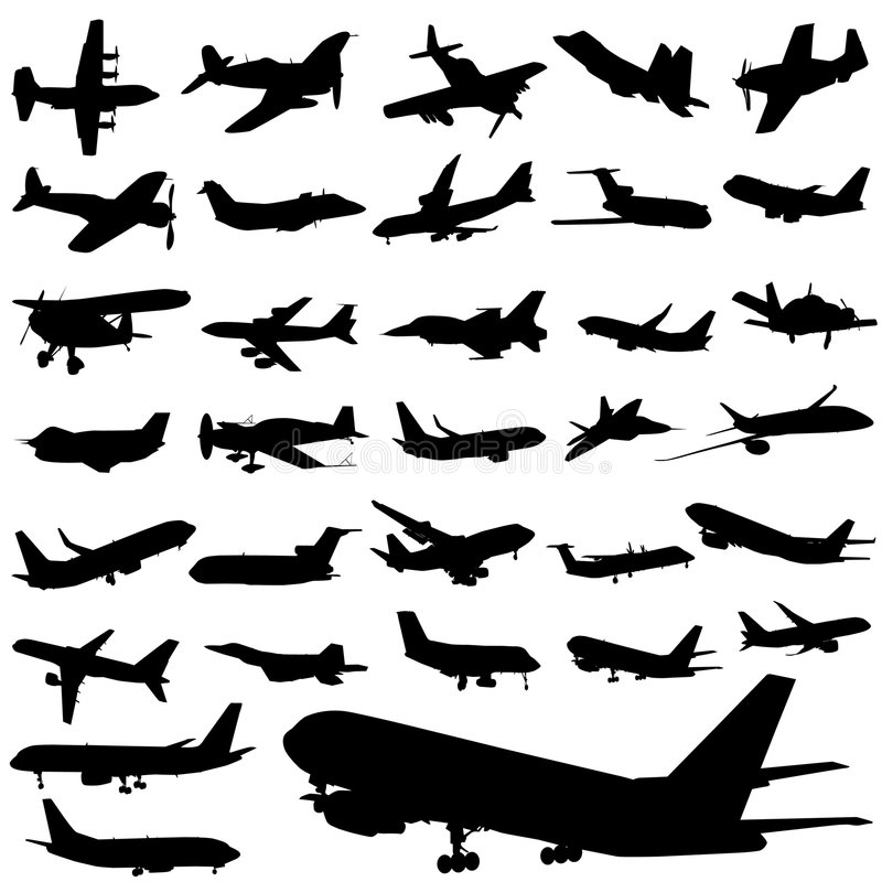 Plane set. Set of plane silhouettes vector stock illustration