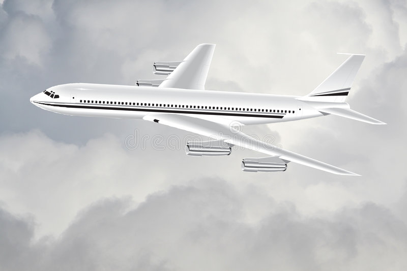 A plane in the sky stock photo