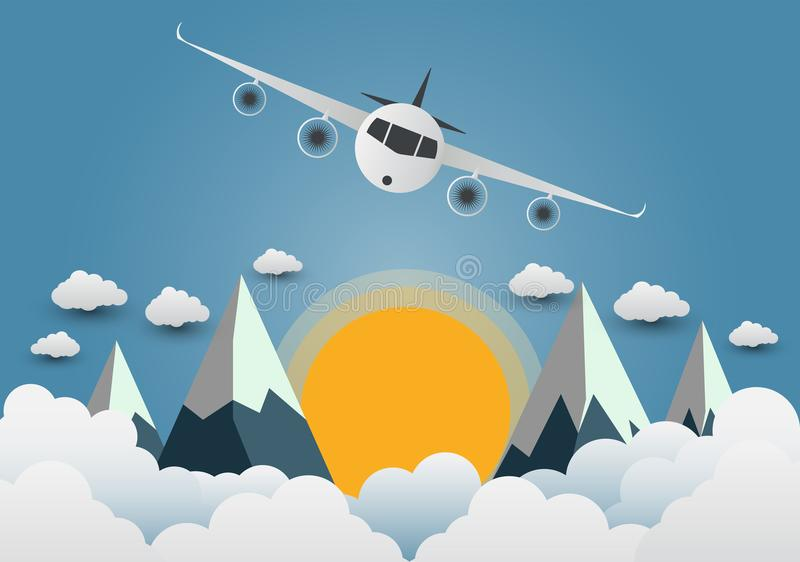 The plane soars over the mountains with beautiful sunsets over t stock illustration