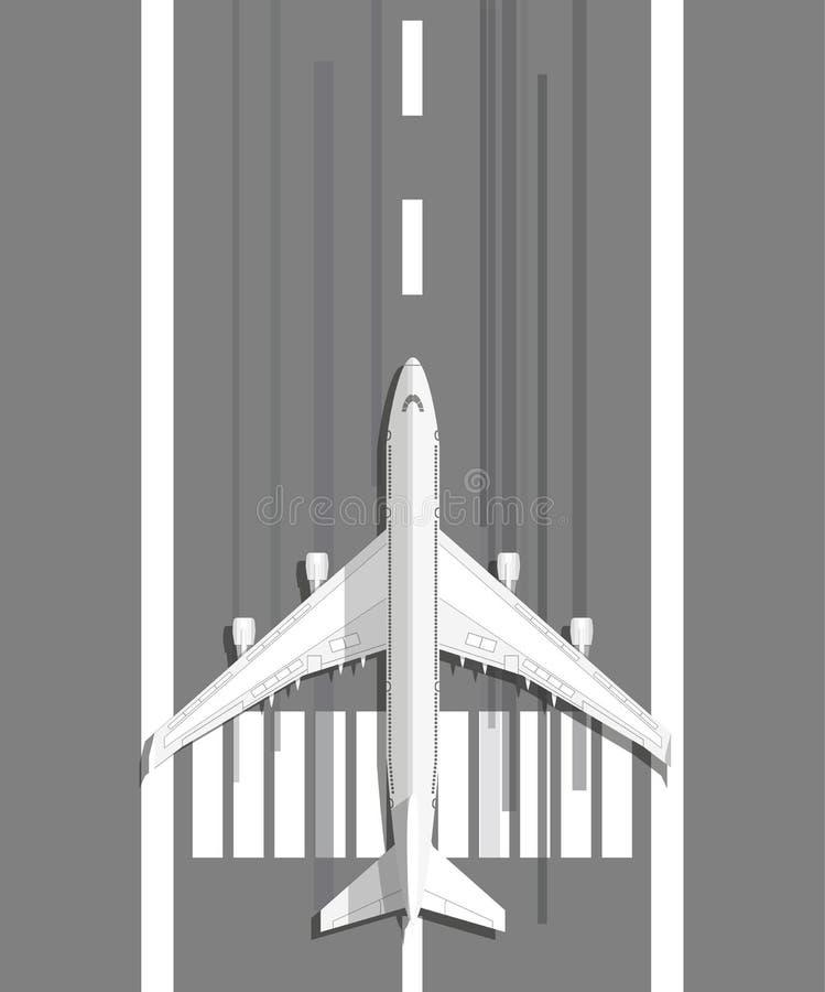 Plane standing on landing strip stock illustration