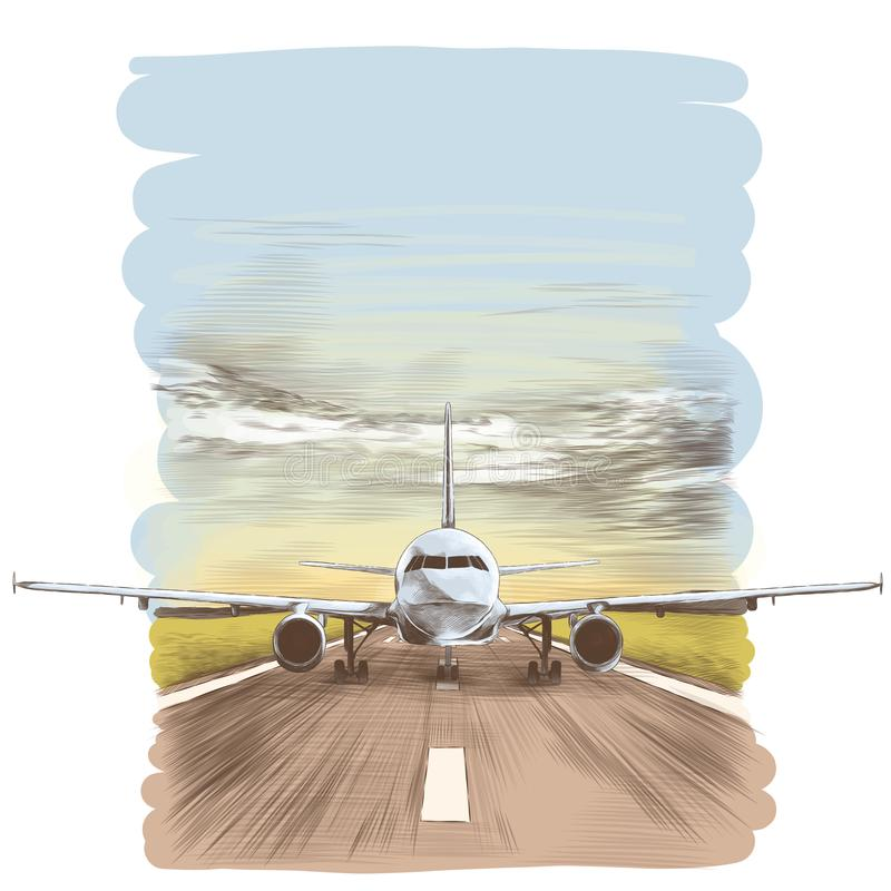 Aircraft on the runway. The plane stands on the runway, sketch vector graphics colored drawing royalty free illustration