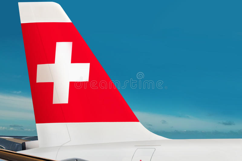 Plane of Swiss airline company on airport stock image