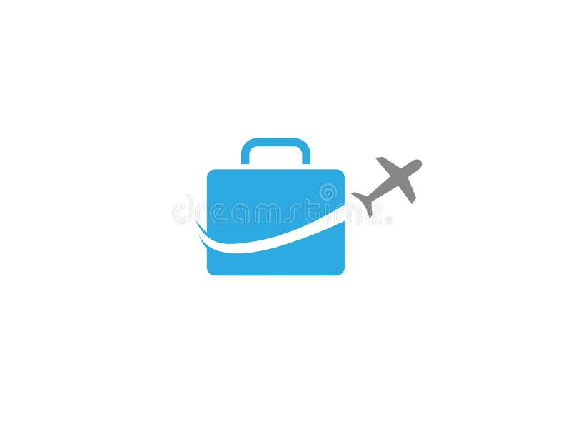 Plane take off around a big bag a business travel for logo. Esign illustration royalty free illustration