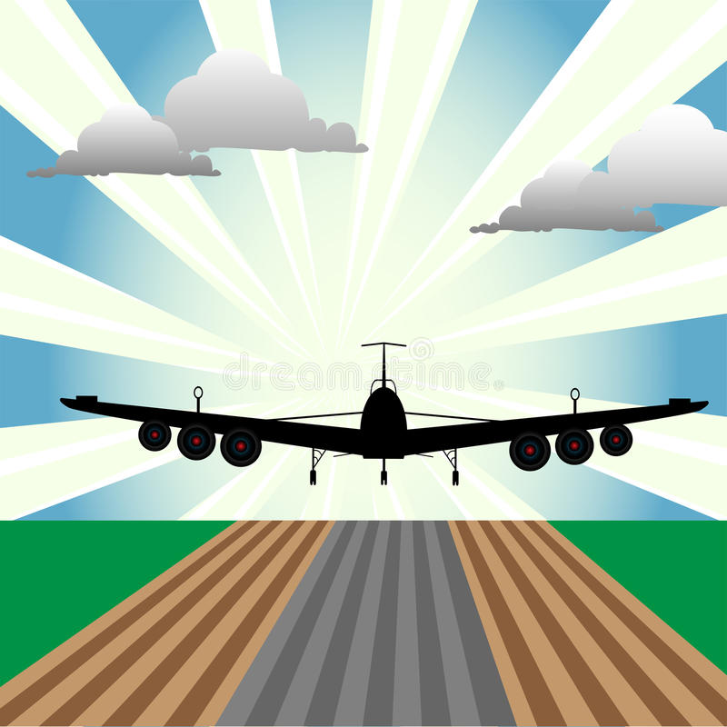Plane at takeoff. Abstract colorful illustration with plane at takeoff seen from the front size of the plane. Takeoff concept vector illustration