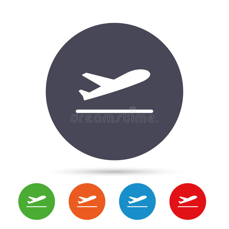 Plane takeoff icon. Airplane transport symbol. Round colourful buttons with flat icons. Vector royalty free illustration