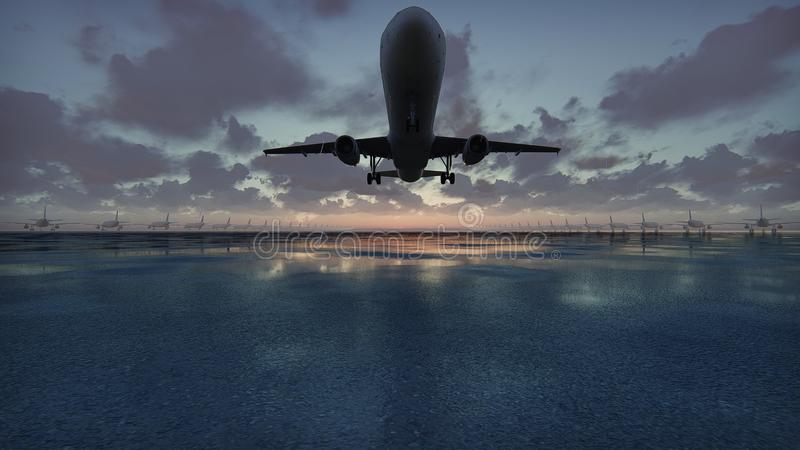 Plane takes off at sunset background in slow motion. 3D Rendering stock illustration
