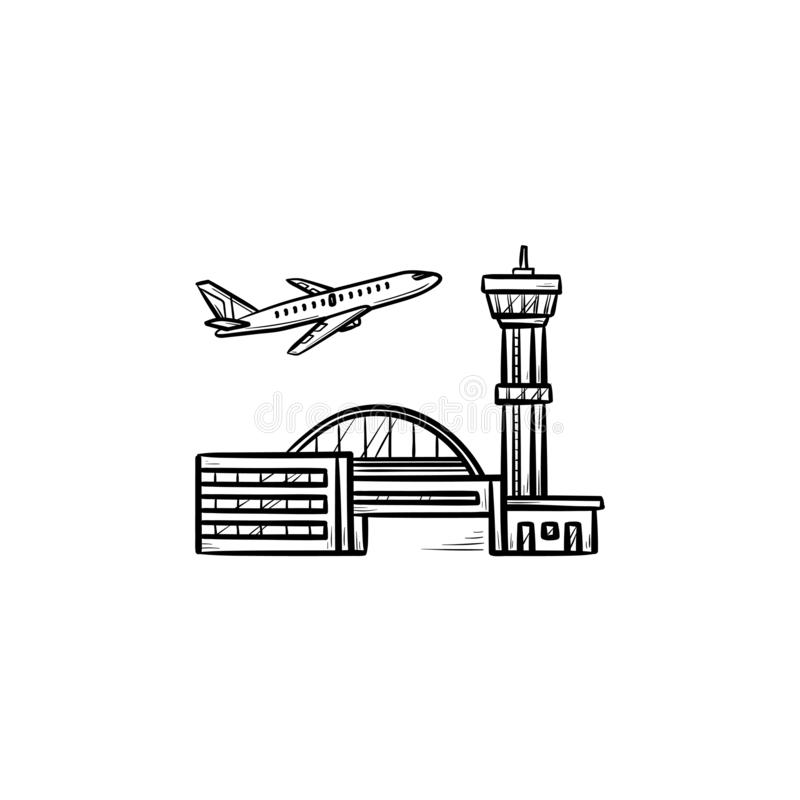 Plane taking off at the airport hand drawn outline doodle icon. vector illustration
