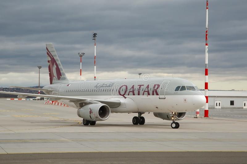 Plane taxiing at airport. BUDAPEST, HUNGARY - DECEMBER 1, 2016: Airliner of Qatar Airways taxiing at Budapest Liszt Ferenc Airport royalty free stock images