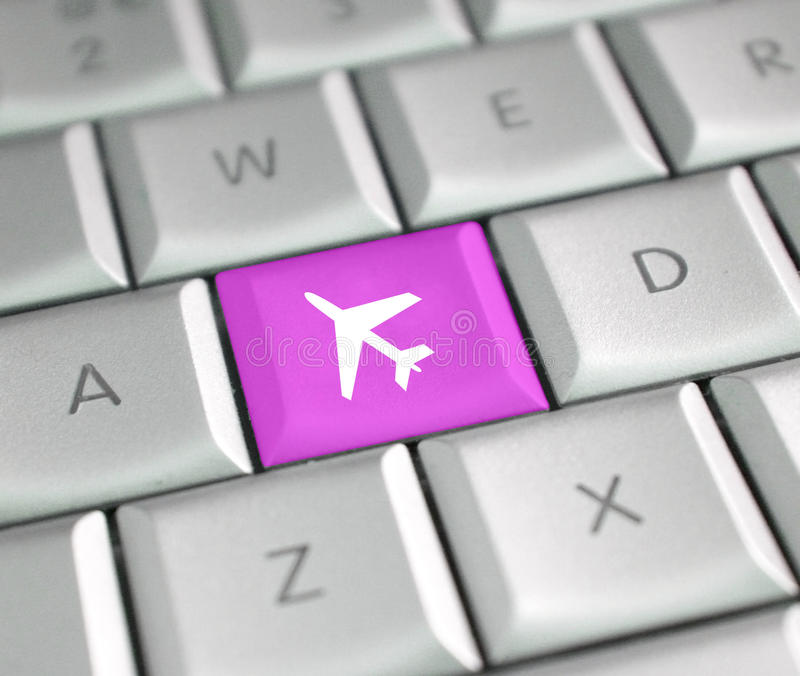 Plane ticket. Key on a keyboard stock photos