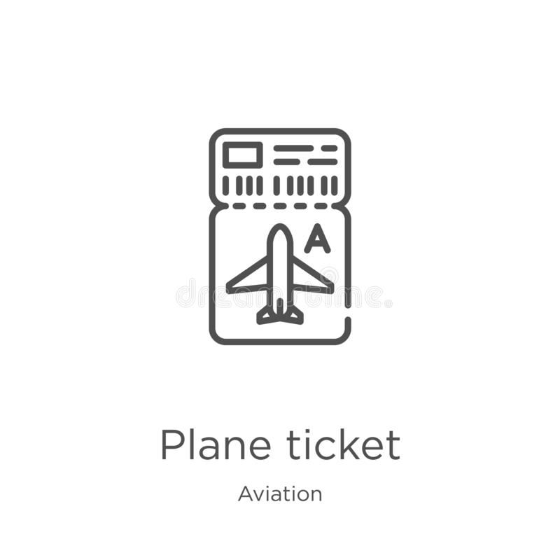 Plane ticket icon vector from aviation collection. Thin line plane ticket outline icon vector illustration. Outline, thin line. Plane ticket icon. Element of royalty free illustration