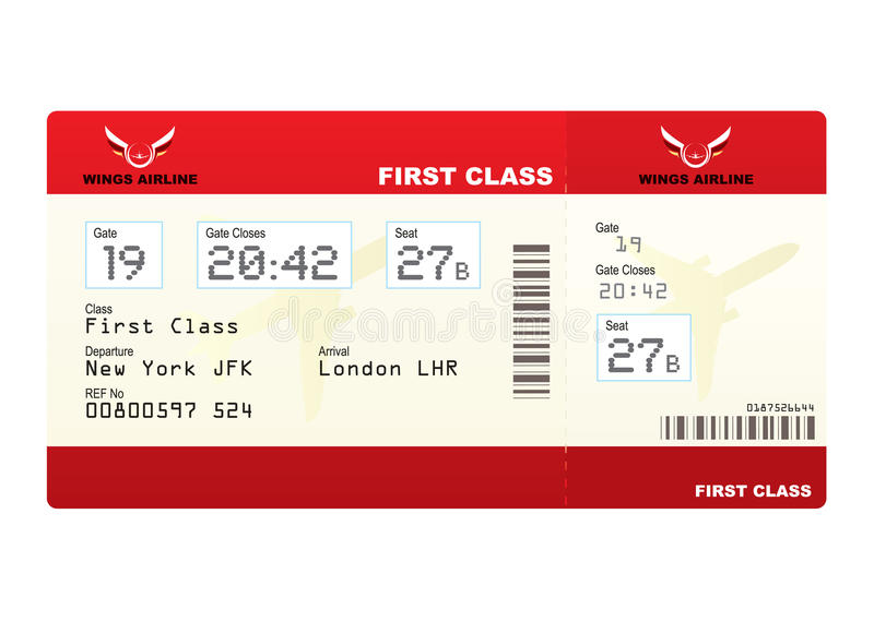 Plane tickets first class stock photography