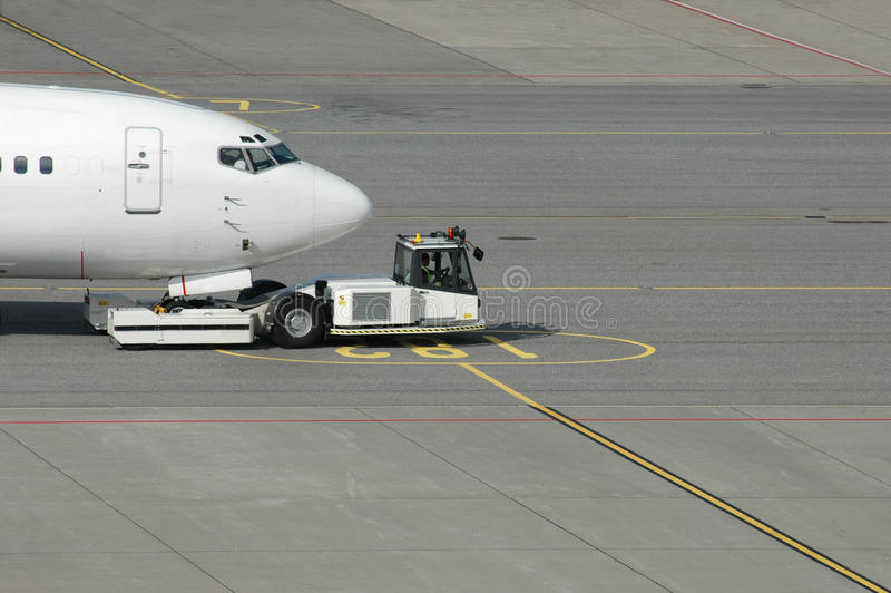 Plane towing stock photography