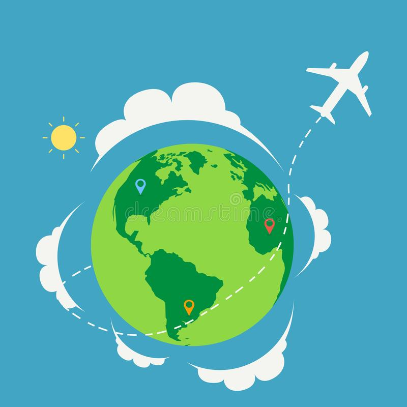 Plane travel around the world with nature landscape and map.Travel around the planet concept. Vector illustration royalty free illustration