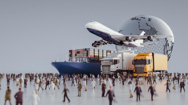 Plane trucks are flying towards the destination with the brightest. 3d rendering and illustration royalty free illustration