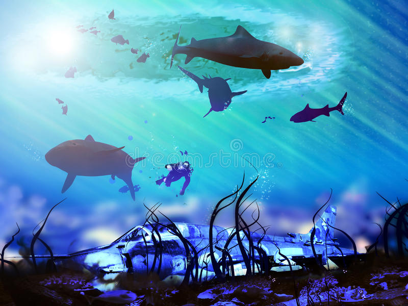 Plane under the sea. Surrounded with sharks, a diver approaches rests of a fighter crushed in the sea stock illustration
