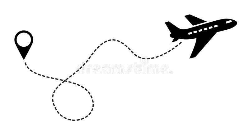 Plane Vector Icon black. Label Symbol for the Map, Aircraft. Editable stroke illustration. vector illustration