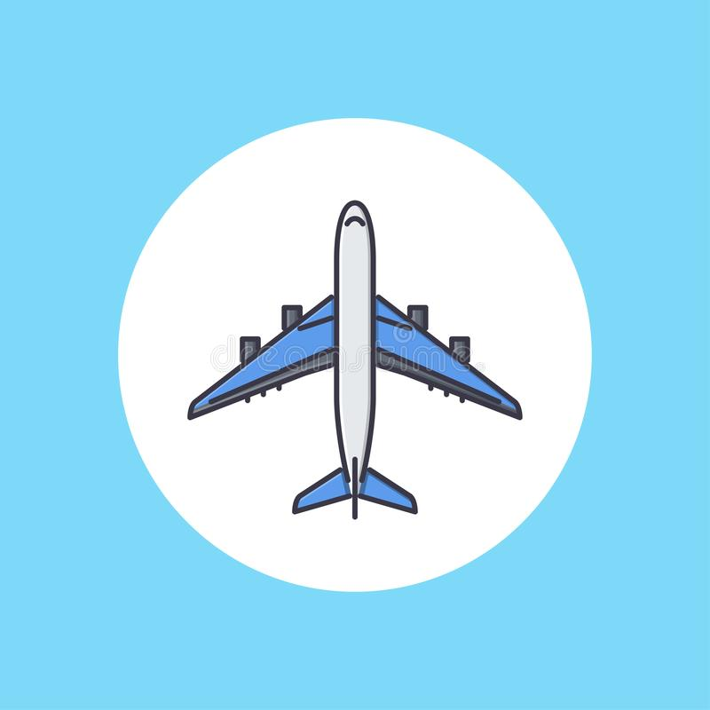 Plane vector icon. Large fixed-wing aircraft. Plane with four jet engines. Airplane for transporting passengers or cargo. Civil aviation theme. Design for mobile stock illustration