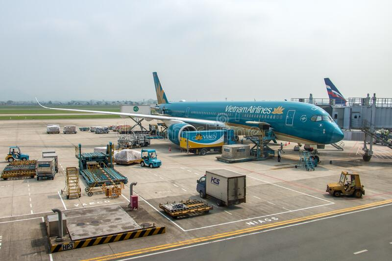 The plane of Vietnam Airlines company stock photography