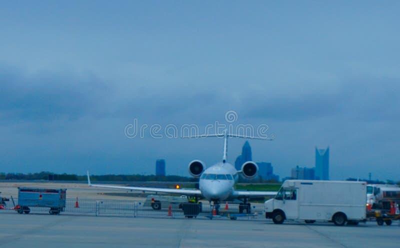 Plane waiting anxiously in Atlanta royalty free stock photo