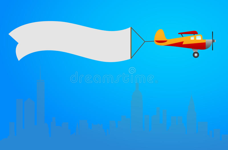 Plane with white banner flying above the city. Background for yo stock illustration
