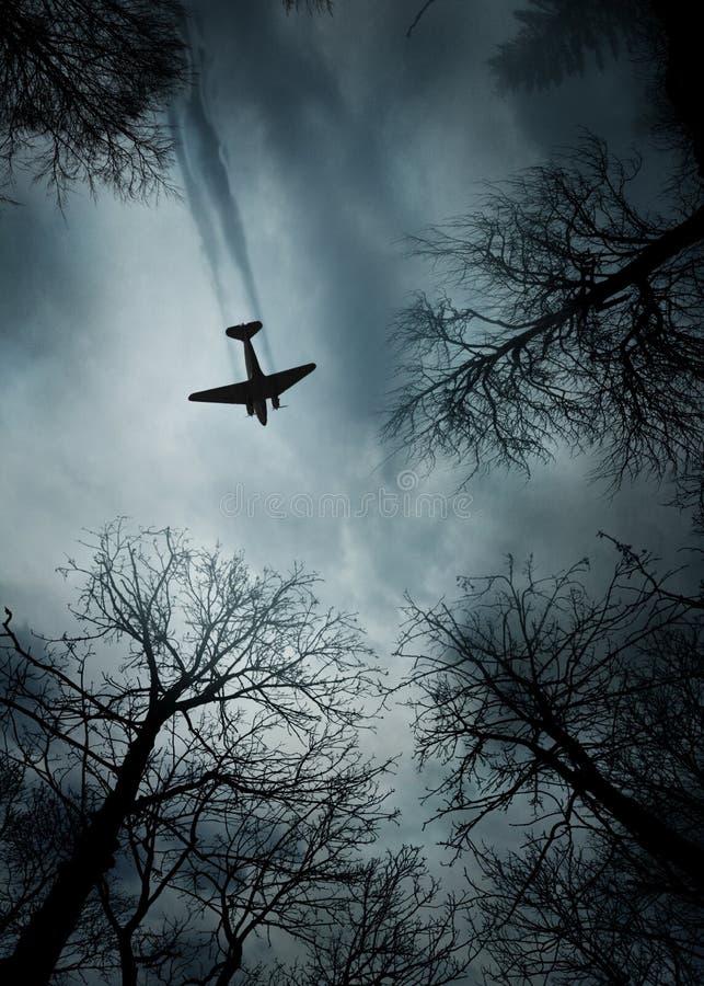 Plane World War II era in flight royalty free stock photography