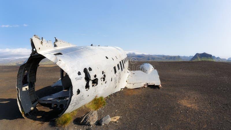 Plane wreck  on Solheimasandur beach, Iceland stock images