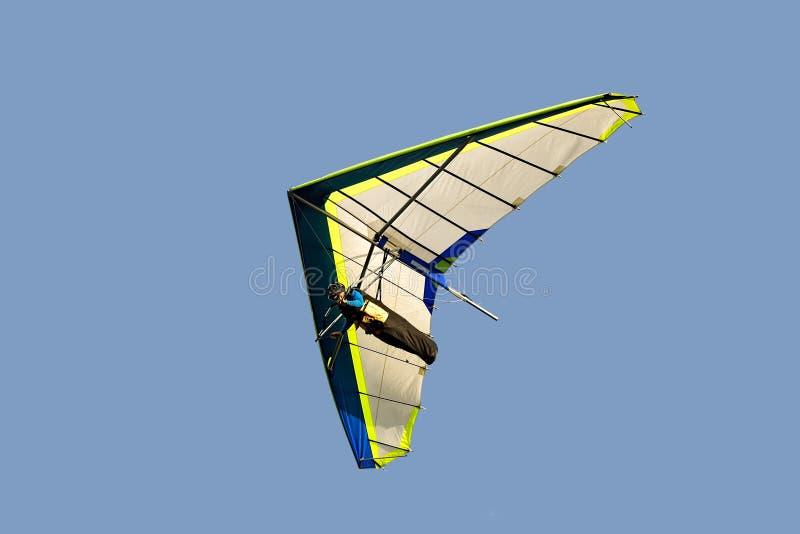 Planeador de caída azul y blanco en vuelo apagado, aislado en azul claro fotografía de archivo