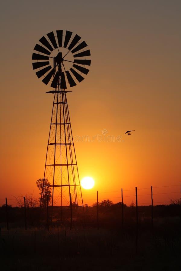 Planeador de caída en la puesta del sol con un molino de viento fotos de archivo libres de regalías
