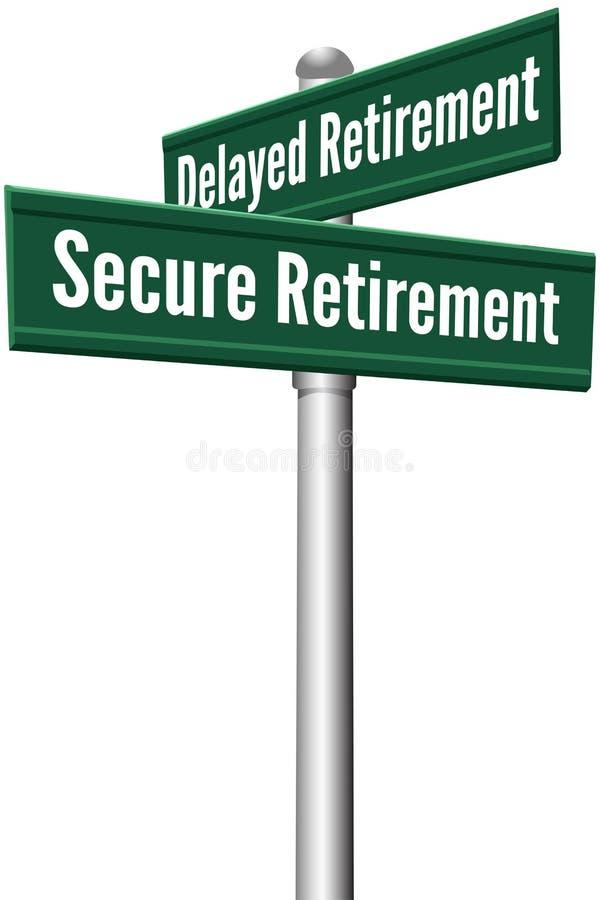 Planeamento de aposentação seguro ou atrasado ilustração royalty free