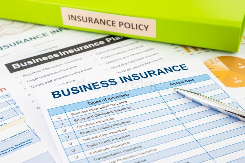 Planeamento de seguro comercial para a gestão de riscos foto de stock