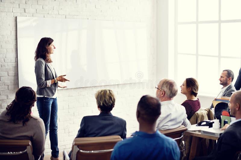 Planeamento de treinamento da conferência que aprende o conceito de treinamento do negócio foto de stock
