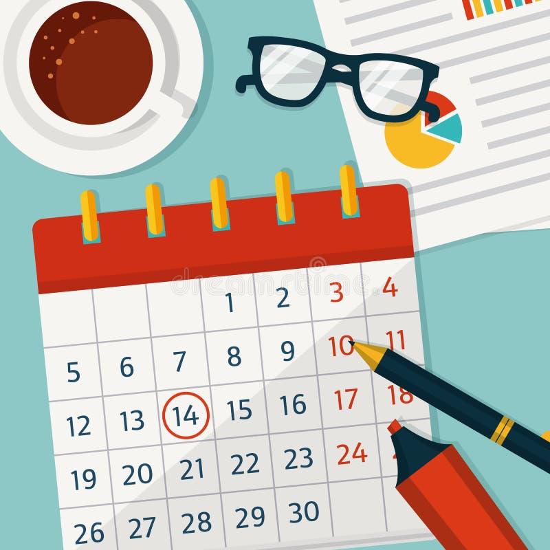 Planeamento do calendário Vector o conceito background ilustração do vetor