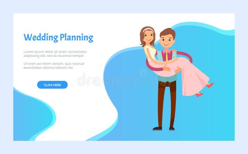 Planeamento do casamento, noivo Hold Bride dispon?vel, pares ilustração do vetor