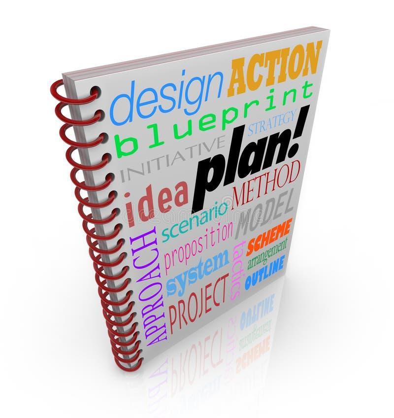 Planeamento empresarial da capa do livro da estratégia do plano ilustração stock