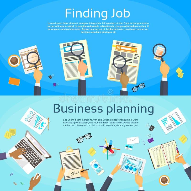 Planeamento empresarial que procura Job Web Banner Flat ilustração royalty free