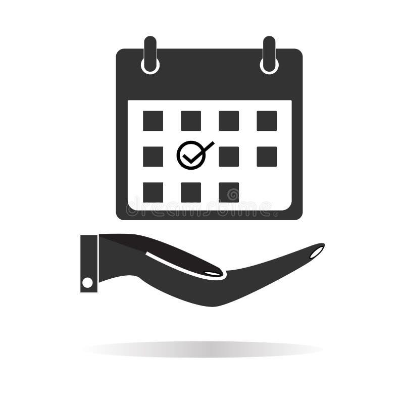 Planeamento, mão que guarda o ícone do calendário com sombra no branco ilustração do vetor