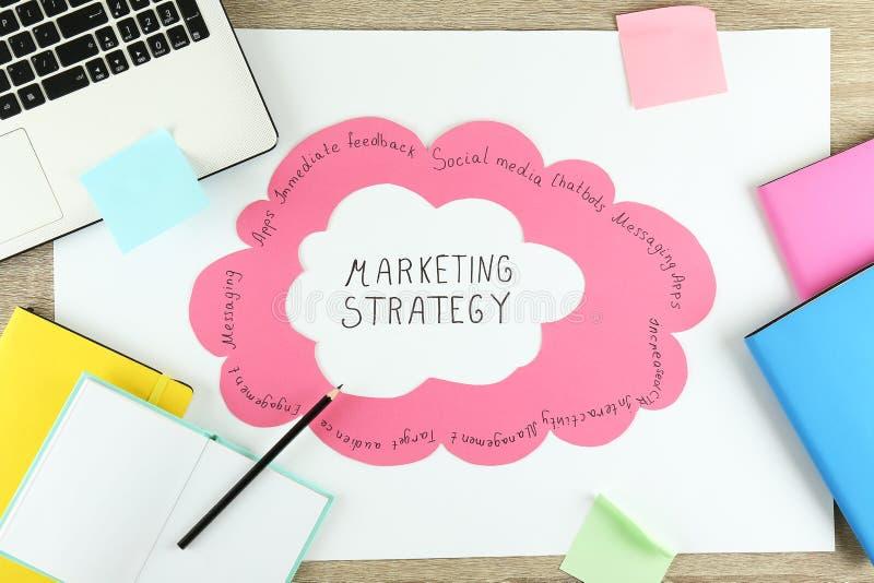 Planeamento markrting estratégico Espaço de trabalho de um profissional imagem de stock
