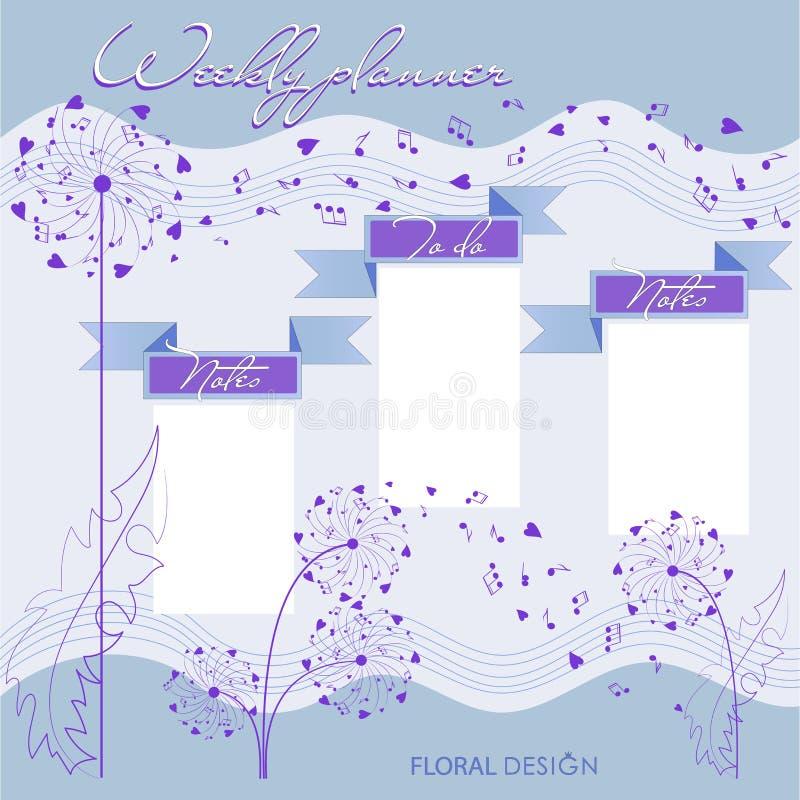 Planeamento musical e dentes-de-leão ilustração royalty free