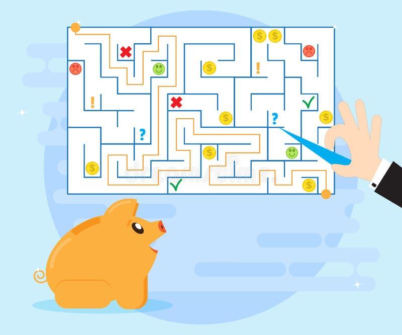 Planeamiento de acción y buena estrategia para superar dificultades y obstáculos, de encontrar una salida de una situación difíci ilustración del vector