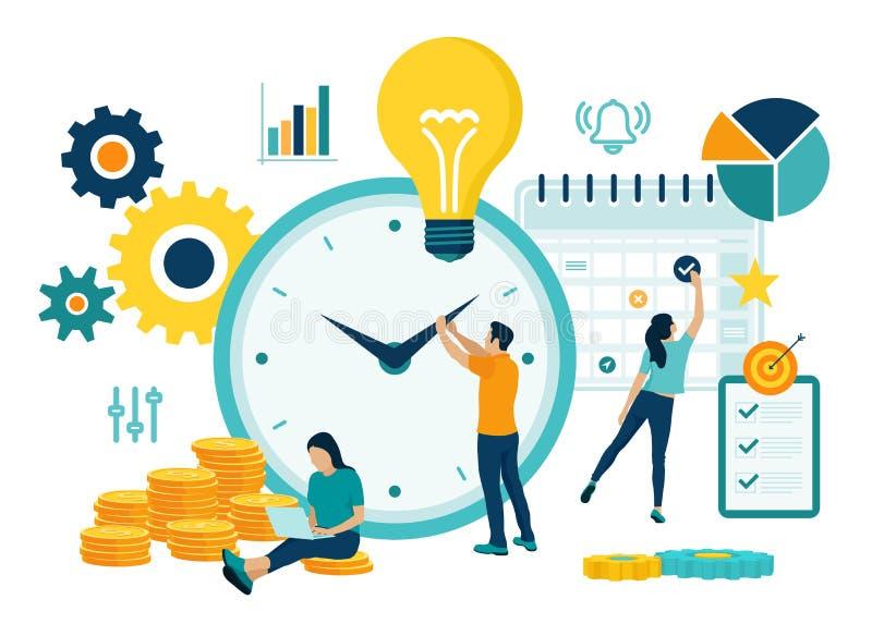 Planeamiento de la gestión de tiempo, organización y concepto de control para el negocio acertado y rentable effiecient Concepto  ilustración del vector