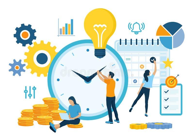 Planeamiento de la gestión de tiempo, organización y concepto de control para el negocio acertado y rentable effiecient Concepto  stock de ilustración