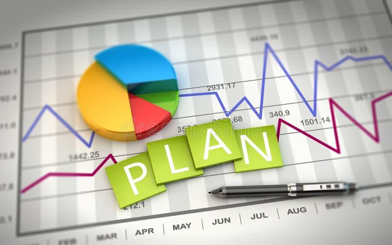 planeamiento de la representación 3D y desarrollo financiero stock de ilustración