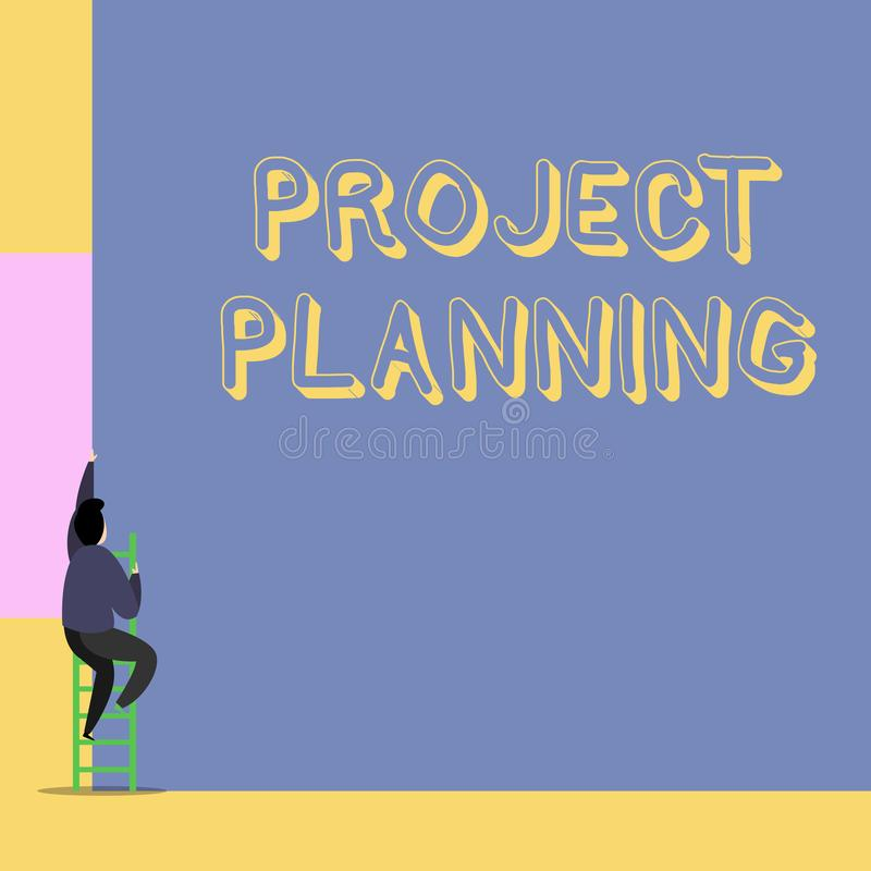 Planeamiento de proyecto del texto de la escritura de la palabra Concepto del negocio para los horario tales como cartas de Gantt foto de archivo