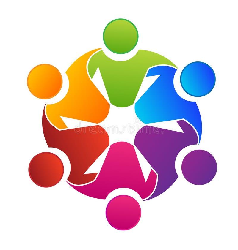 Planeamiento del grupo del trabajo en equipo e icono el crear libre illustration